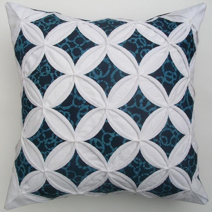Indigo Blue Batik Cathedral Windows Pillow