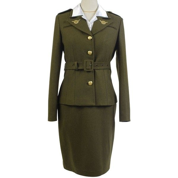 Sidnor Women's Officer Margaret/Peggy Carter Dress Cosplay Costume... ($115) ❤ liked on Polyvore featuring costumes, ladies costumes, womens costumes, cosplay costumes, cosplay halloween costumes and womens sports costumes