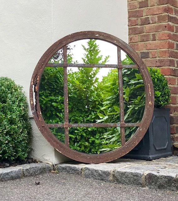 Vintage Circular Rustic Window Mirror Vintage Panelled Garden Mirror Vcr 9 Aldgate Home Ltd Garden Mirrors Rustic Window Mirror