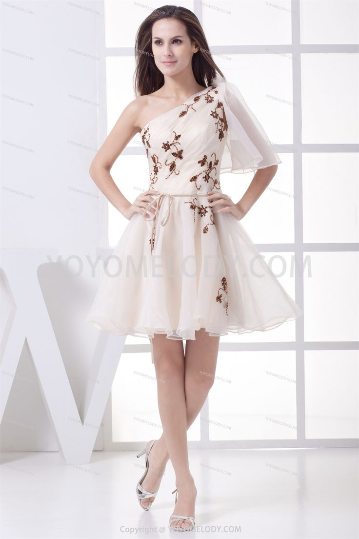 Chic&Modern White Satin Knee Length A Line Prom Dress SD0301579