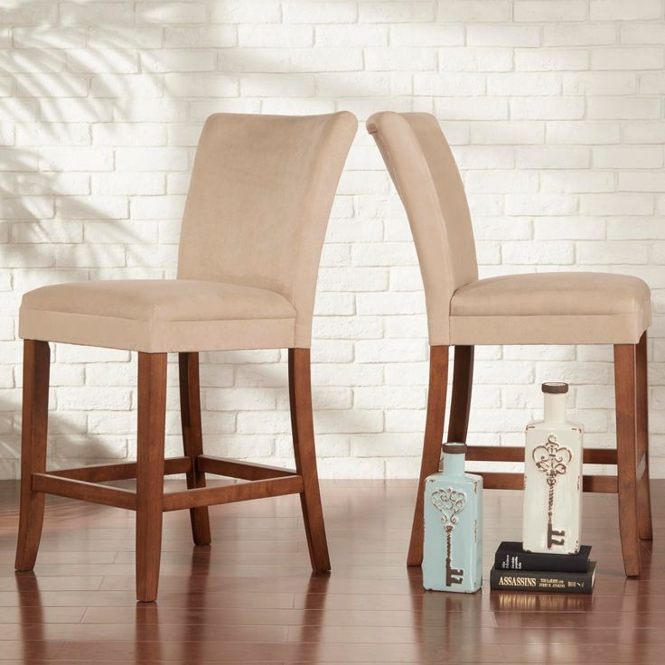 Set Of 2 Kitchen Counter Height Chairs With Microfiber: Parson Classic Upholstered Counter Height High Back Chairs