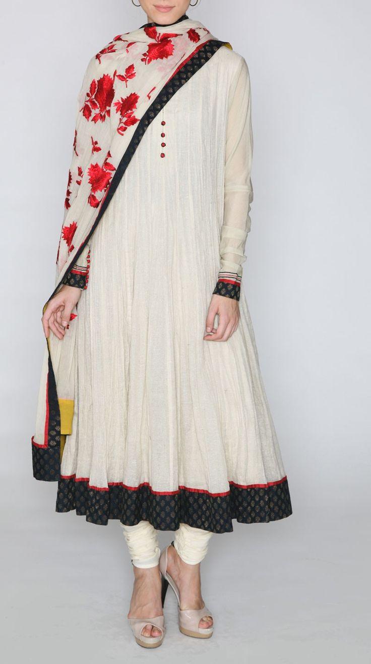 Offwhite Cotton Jute Anarkali - Ritu Kumar