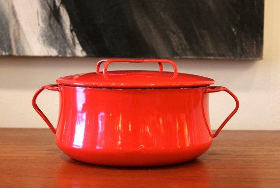 vintage Dansk Kobenstyle pot in Bright red / Mid by ColibriFinds, $58.00