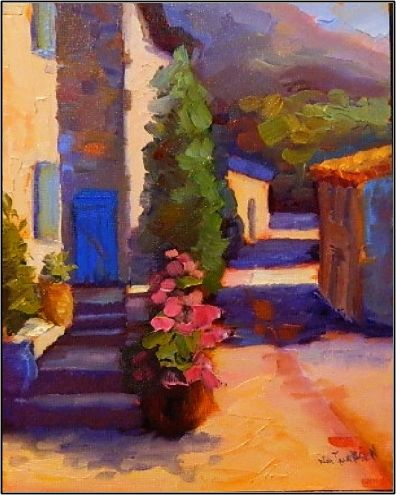 French Blues , 8x10, oil on board, paintings of France, Provence, blue doors, blue shutters, painting by artist Maryanne Jacobsen