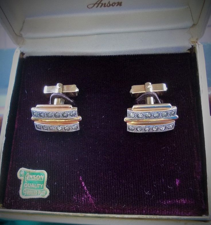 Signed Anson Vintage Cufflinks, Rolled Gold Plate, Rhinestone & Silver Tone Bands, Boxed