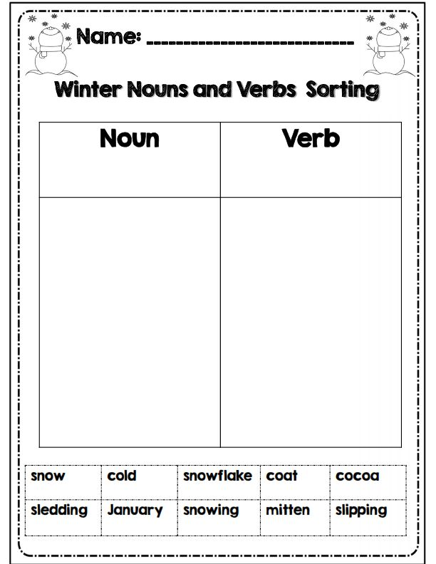 winter noun and verb sorting activity part of 31 page common core winter packet for math and ela. Black Bedroom Furniture Sets. Home Design Ideas