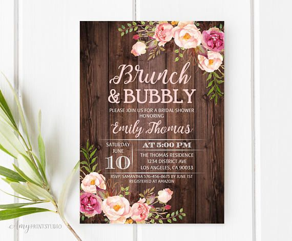 Rustic Floral Brunch and Bubbly Bridal Shower Invitation, Digital file, Personalized with your party details. This listing include High Resolution DIGITAL FILE (300 dpi) JPEG or PDF format (no physical prints). You can print as many as you need! HOW IT WORKS: 1. Please, when