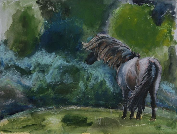 Watercolor Paintings of Horses | To the Wind - Sorvi, 12 x 16in. mixed media on paper