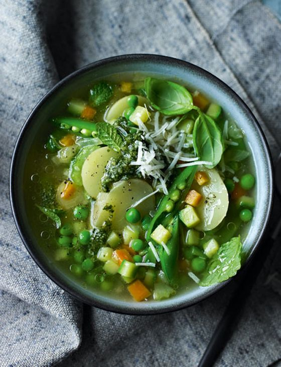 Spring minestrone with mint pesto: Minestrone Soups, Basil Mint, Spring Recipes, Mint Pesto Recipes, Sarah Randell, Randell Spring, Spring Minestrone, Spring Soups, Pesto Food
