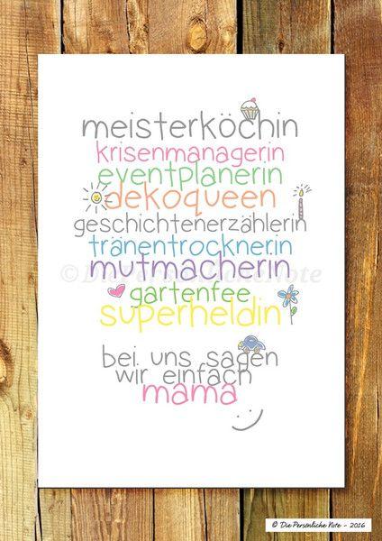 Originaldruck - Druck/Print: Für Mama - nicht nur zum Muttertag - ein Designerstück von DiePersoenlicheNote bei DaWanda