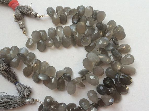 Grey Moonstone Faceted Pear Beads Grey Moonstone by gemsforjewels