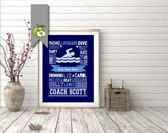 Swimming Coach appreciation word cloud custom Signing board