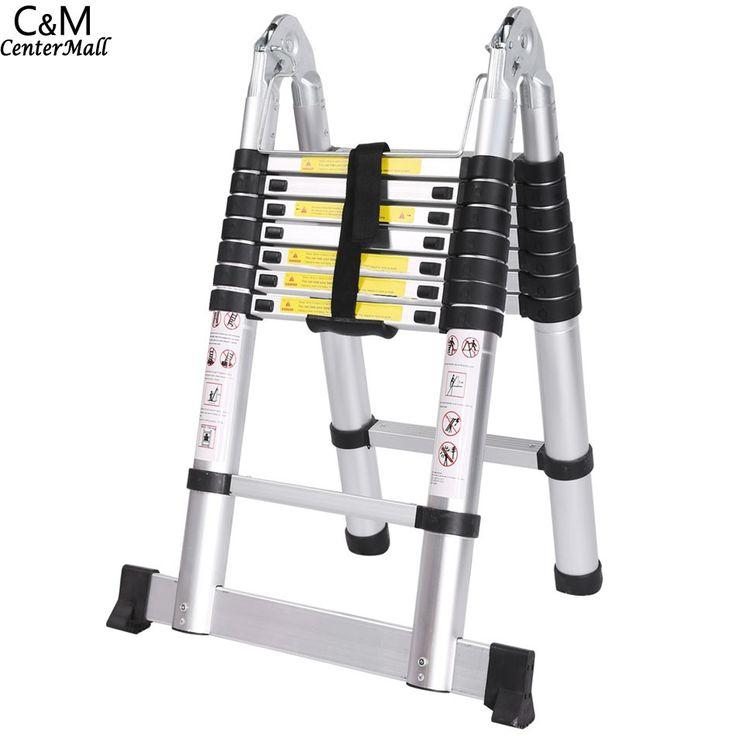 Ancheer 5 M 16 langkah Serbaguna Gaya Aluminium Alloy Ganda Tangga Teleskopik Lipat Tangga Extenable