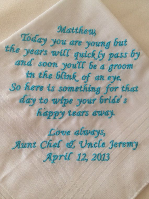 ring bearer Ring boy  gift handkerchief to use on his wedding day