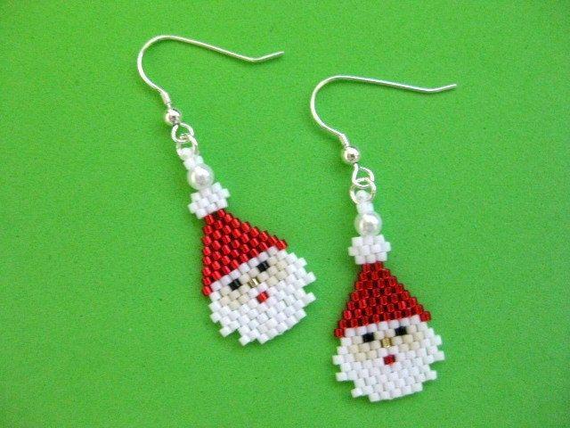 Santa Earrings / Peyote Earrings / Christmas Earrings / Seed Bead Earrings / Beaded Earrings / Sterling Silver / Winter Season Earrings by MadeByKatarina on Etsy https://www.etsy.com/listing/81048936/santa-earrings-peyote-earrings-christmas