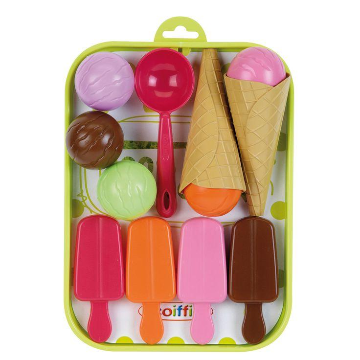 Het Franse merk Ecoiffier heeft een breed assortiment speelgoed voor in de keuken, tuin, huishouden en voor op het strand! Kinderen kunnen met het speelgoed van Ecoiffier spelenderwijs kennismaken met het dagelijks leven. Afmeting:hoorntje Ø 5 x 12 cmInclusief twee ijshoorntjes, vijf ijsbollen, vier ijsjes op stokje en een ijsschep - Ecoiffier 100% Chef IJsset
