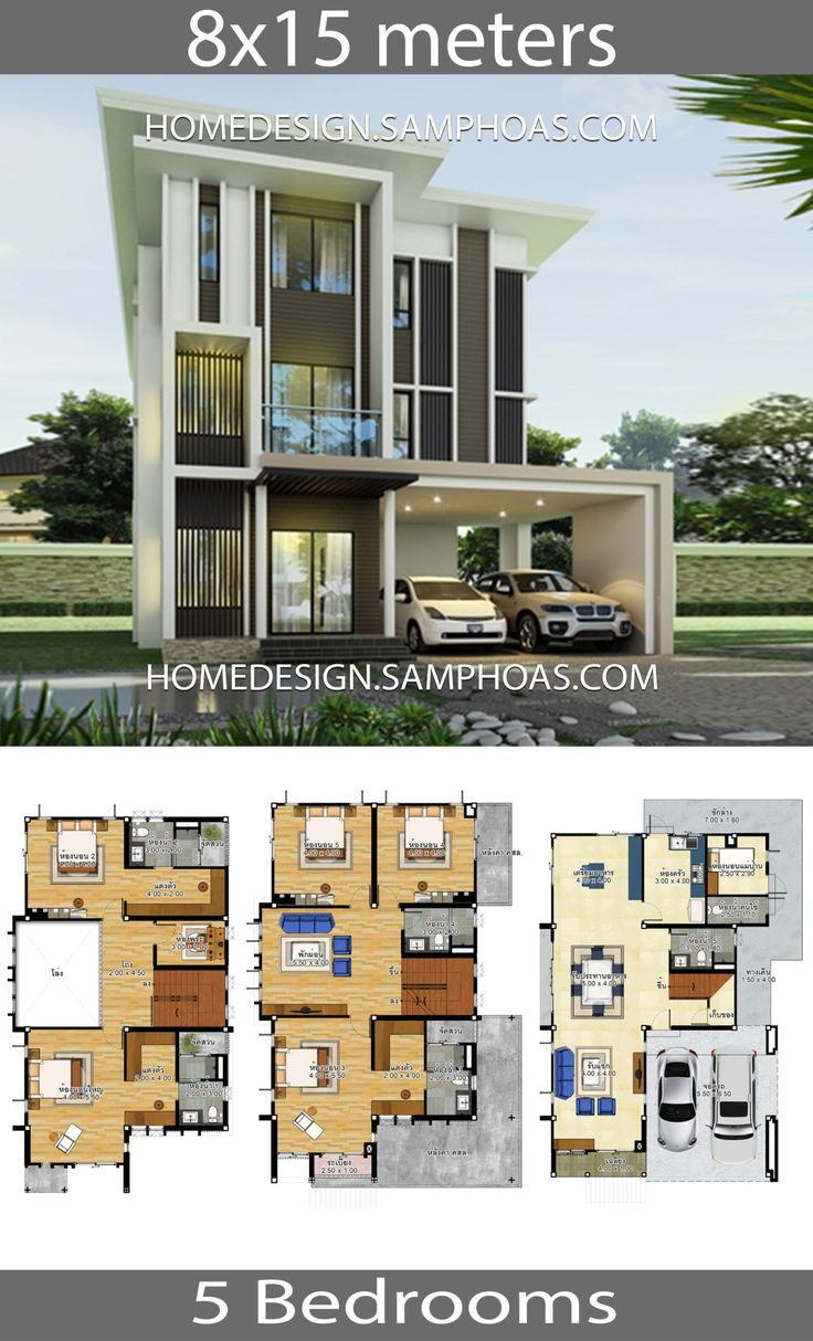 House plans idea 8x15 with 5 bedrooms House plans