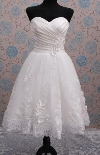 New White/Ivory Tea Length Short Vintage Wedding Dress Size STOCK6 8 10 12 14 16 in Clothing, Shoes & Accessories, Wedding & Formal Occasion, Wedding Dresses | eBay