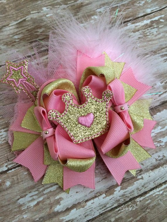 Gold and Pink Princess hair bow Princess by TheJMarieBoutique