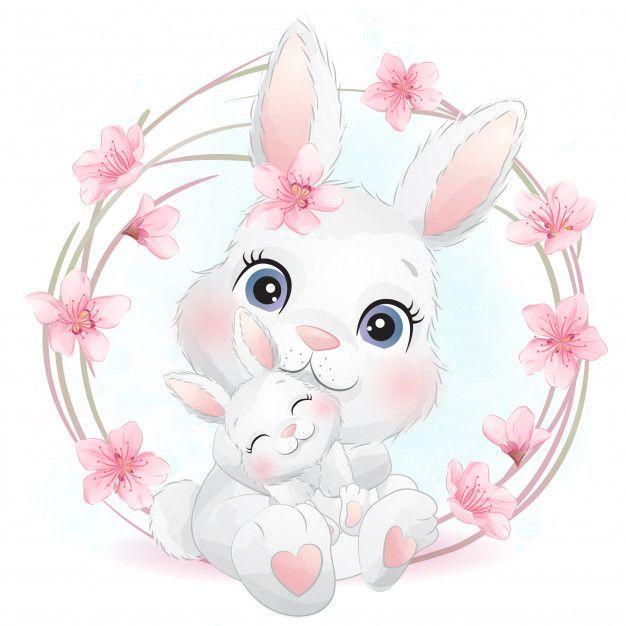 Cute Little Bunny Mother And Baby Milye Risunki Illyustracii Krolikov Detskie Kartiny