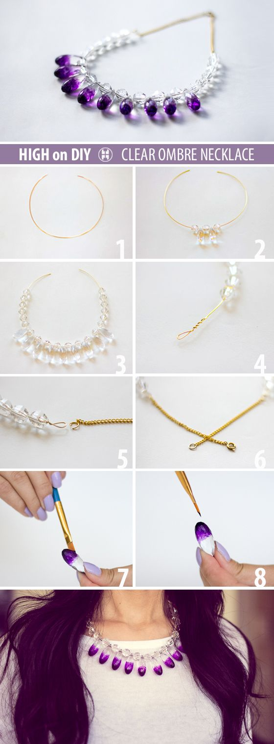 DIY Clear & Ombre Necklace #Accessories #DIYFashion #Jewelry