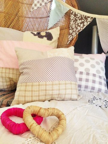 Cushions with patchwork that can be customised to suit your own colour choice and style. www.amiamo.com.au