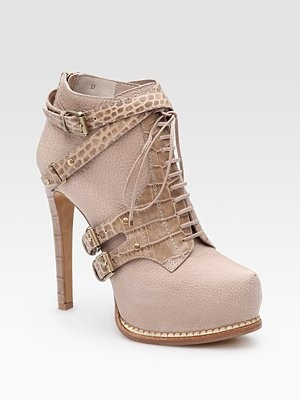 Dior Guetre Lace-Up Leather and Crocodile Ankle Boots