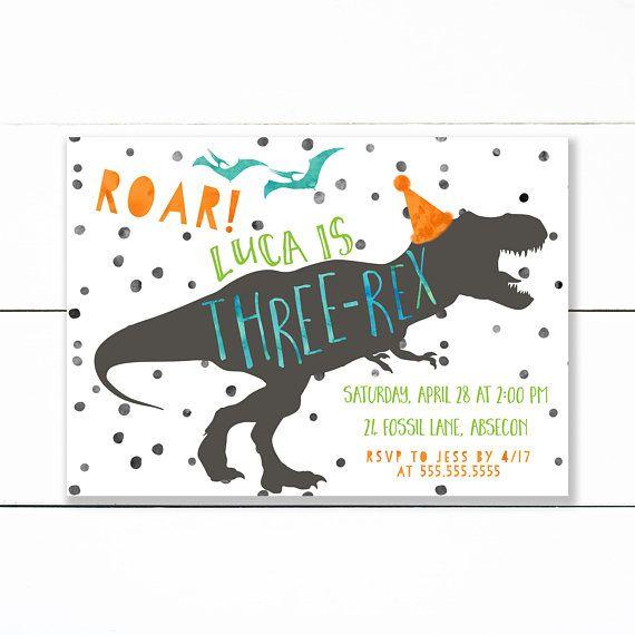 Dinosaur Birthday Invitation Invite T Rex Party Three Dino