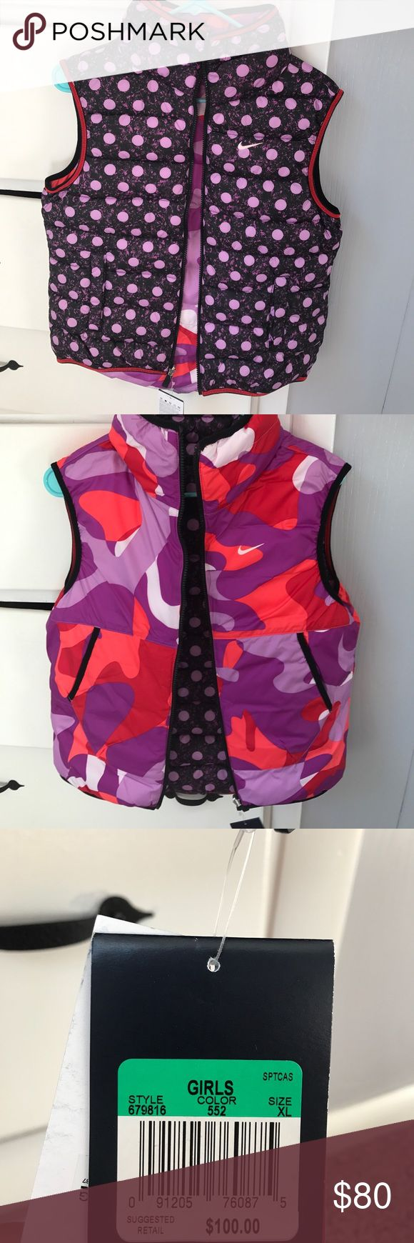 Nike reversible vest Reversible vest with purple and orange camo on one side and purple polka dots on the other sid Nike Jackets & Coats Vests