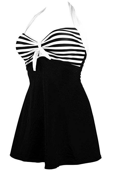 519d6b1d622 Cocoship Navy Blue   Red White Striped Vintage Sailor Pin Up Swimsuit One  Piece Skirtini Cover Up Swimdress M(FBA) at Amazon Women s Clothing store