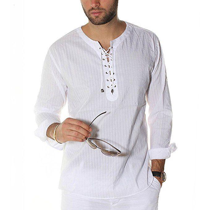 Lace up tunic V neck white beach shirt, M | White shirt men