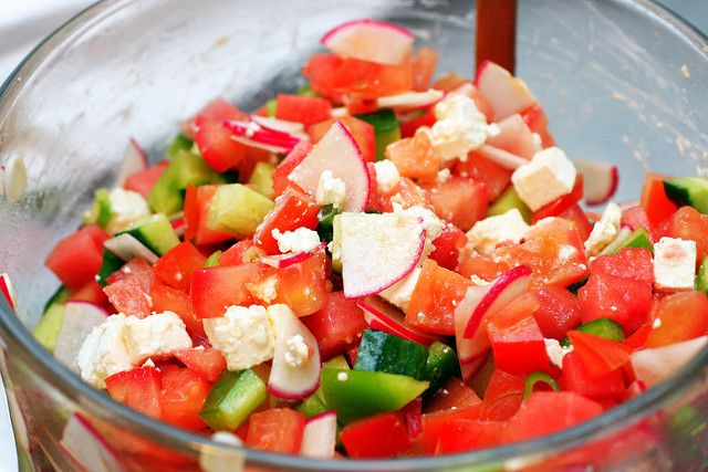 Watermelon and Feta Salad with Chopped Vegetables - tomatoes, bell peppers, cucumbers, radishes, green onions, greek yogurt, fresh mint, dried oregano