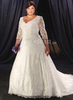 Robe de mariée grande taille col en v dentelle manches mi-longue