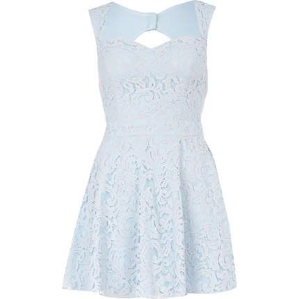 light blue lace skater dress - skater dresses - dresses - women - River Island