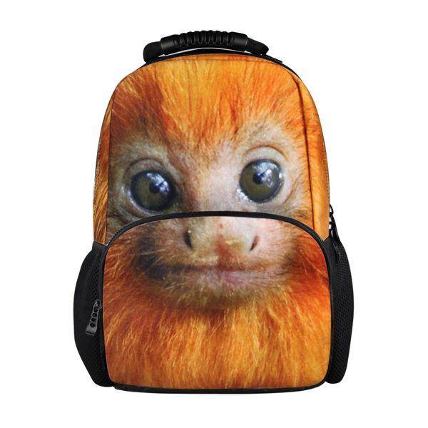Dispalang 17 inch Animal Pattern Backpacks for Boys Orangutan Monkey Print Teenager Schoolbag Unique Youth Daypack Mochila