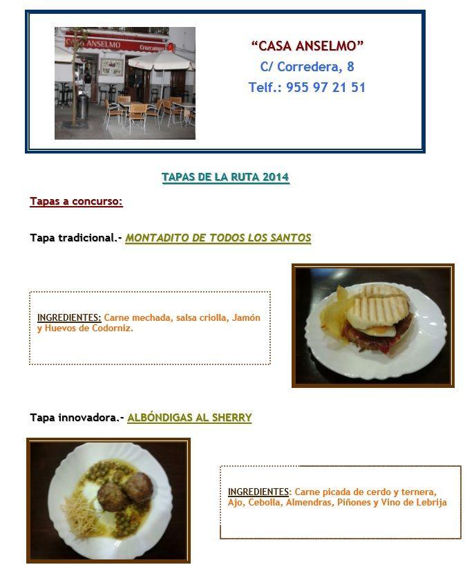 Os presentamos las tapas con las que Casa Anselmo se presenta a la VI Edición de la Ruta de la Tapa en Lebrija.
