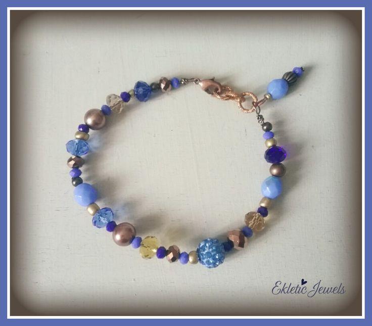 Boho bracelet cobalt blue and bronze