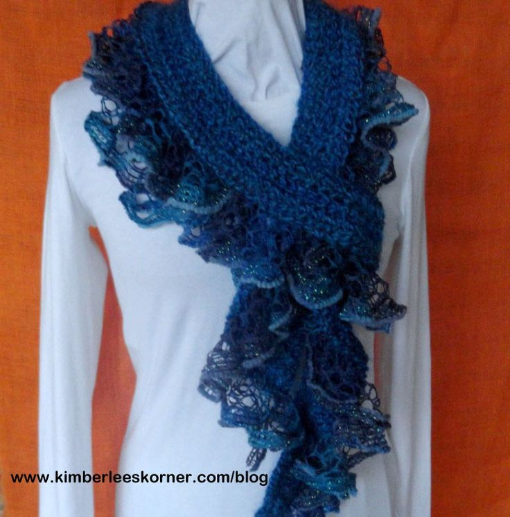 Crochet Scarf Pattern with Ruffle Yarn Edging, Patterns for Sashay Yarn, Easy to Follow Tutorial for Crocheted Ruffle Scarf
