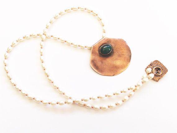 green agate pendantcopper pendanthandmade by tizianat on Etsy