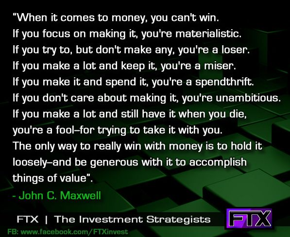 You can't win with money...