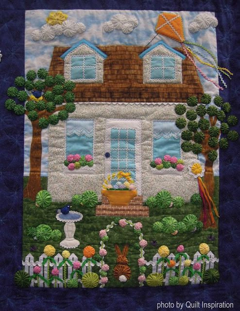 Bonnie's charming work shows yo-yo's in all four panels, one for each season. The seasonal patterns are by Marcia Layton; this one is called Lollipop Lane. Notice how yo-yo's decorate the gingerbread house and form a fence line of lollipops. #Easter