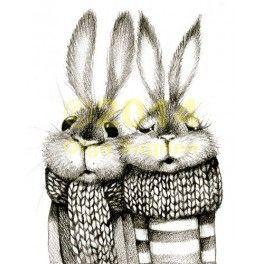 Bunny couple in mufflers.: