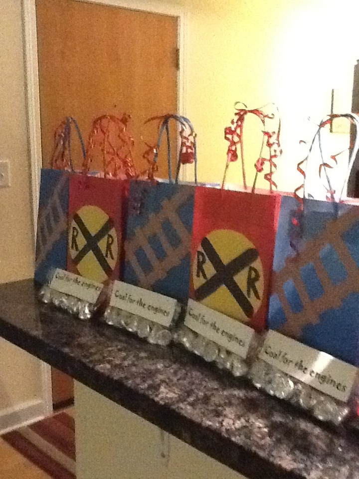 Thomas  the train birthday party treat bags are now complete with coal for the engines!