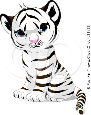 Royalty-Free (RF) Clipart Illustration of an Adorable Sitting Baby White Tiger Cub With Blue Eyes by Pushkin