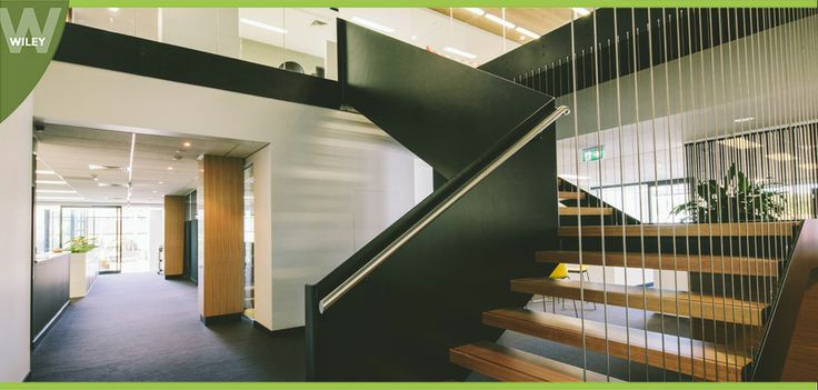 Staircase: Level One was recently refurbished and expanded to meet the needs of our growing Wiley community.   A central, open space was designed to accommodate a bold new internal staircase as previously access between Level One & Two had been by the lift or a secured, swipe accessible stairwell. #wiley