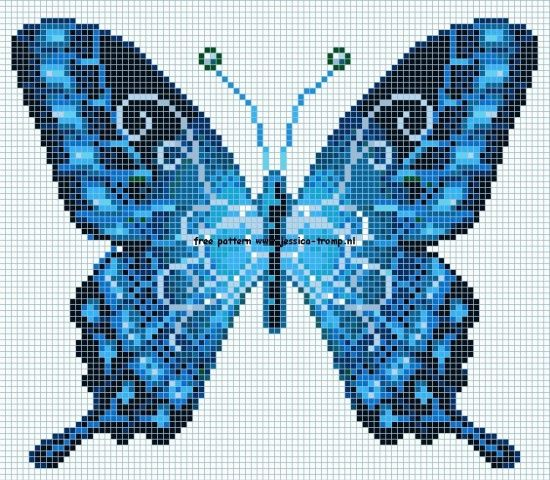 Blue butterfly cross stitch