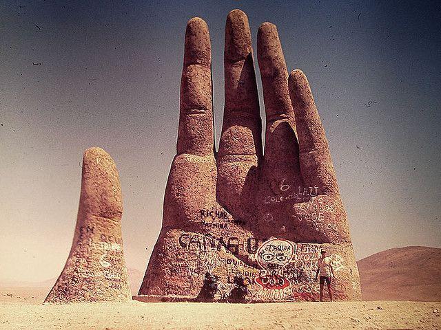 La Mano del Desierto, Atacama Desert, Chile. Artist: Mario Irarrázabal ~ by…