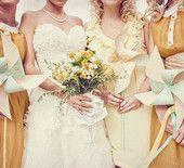 Mustard Yellow Bridesmaid Dresses and Pinwheels