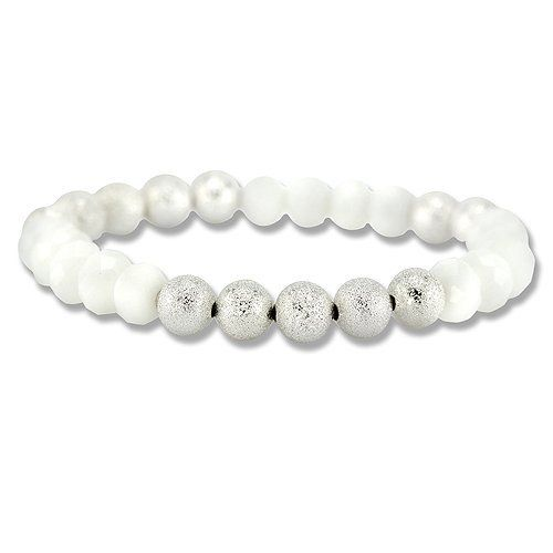 Silver And White Bead Stretch Bracelet CleverSilver. $43.99. Save 56%!