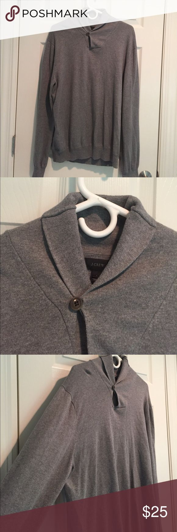 J.Crew Men's Shawl Collar Sweater J.Crew Men's Shawl Collar Sweater - light heather grey with grey button. Pre-loved. Looks amazing over shirt and tie or over a tee. J. Crew Sweaters